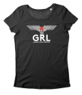 tailliertes T-Shirt - GRL - always anti-fascist