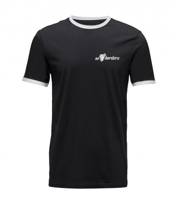 T-Shirt - No Borders - Black/White Ringer