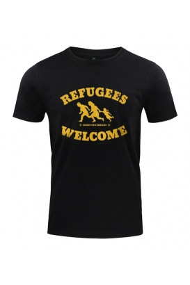 T-Shirt - Refugees Welcome - schwarz